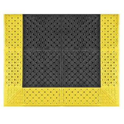 Cushion-Lok Black Gritted Grip-Step with Yellow Safety Border 30 in. x 36 in. PVC Anti-Fatigue/Safety Mat