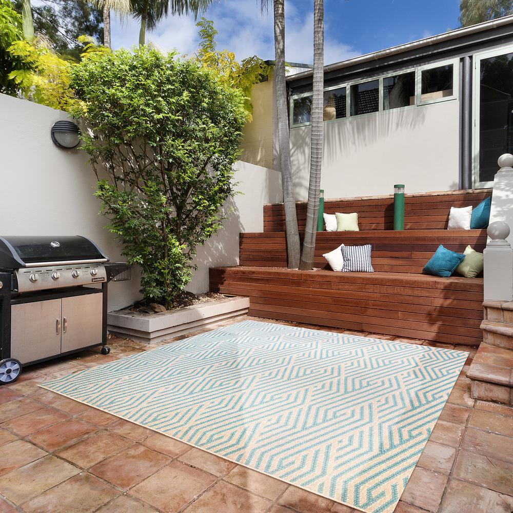 Zig Zag Oasis 9 ft. x 9 ft. Striped Indoor/Outdoor Area Rug