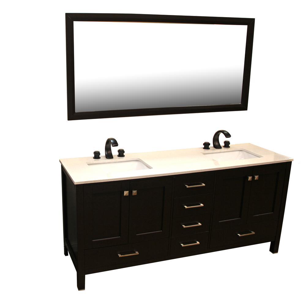 Kokols Vanity Espresso Quartz Vanity Top Beige Mirror