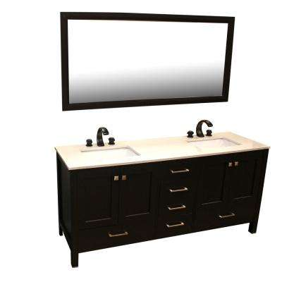 71 in. W x 22 in. D Double Vanity in Espresso with Quartz Vanity Top in beige and Mirror