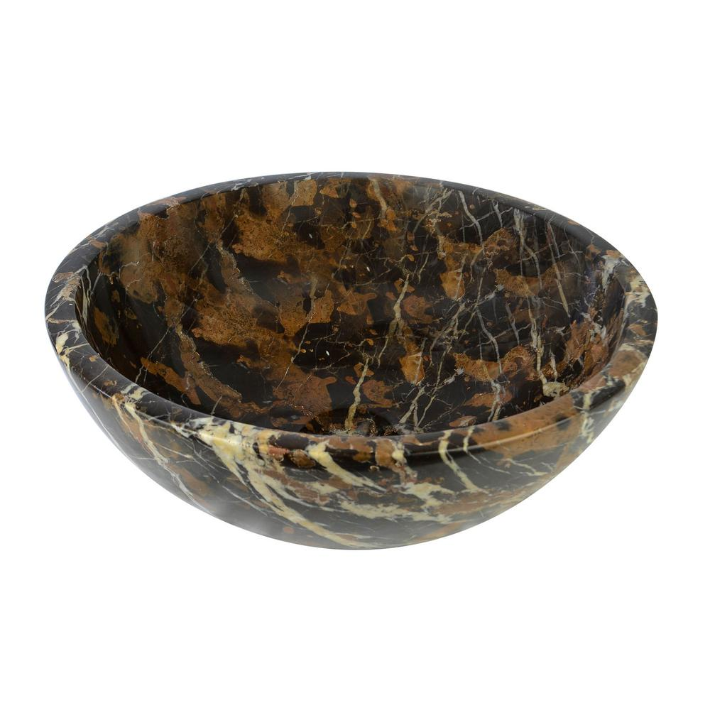Round Marble Stone Vessel Sink In Gold And Black Snk Rd Kg