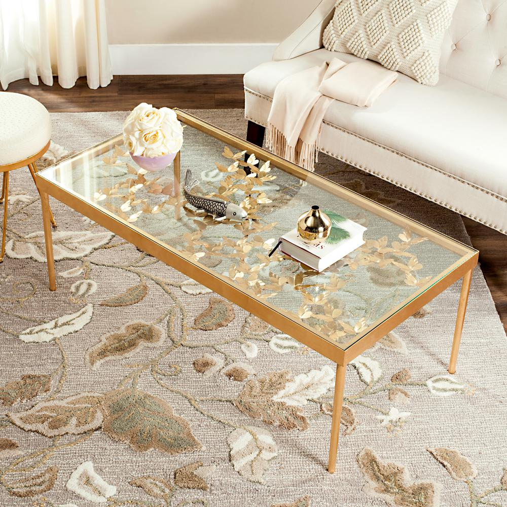 Etonnant Safavieh Rosalia Glass/Antique Gold Butterfly Coffee Table