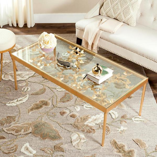 Antique Gold And Glass Coffee Table: Safavieh Rosalia Glass/Antique Gold Butterfly Coffee Table