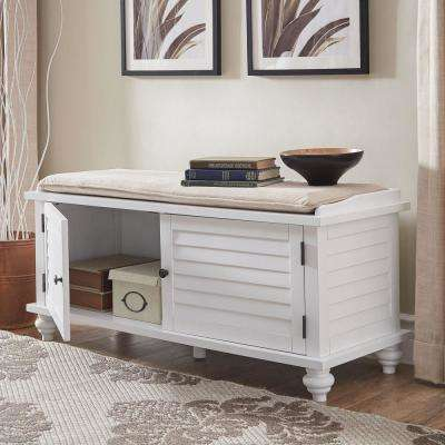 White Shoes Bench With Beige Velvet Cushion