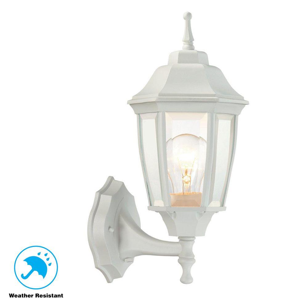 Hampton Bay 1 Light White Outdoor Dusk To Dawn Wall Lantern Sconce Bpp1611 Wht The Home Depot