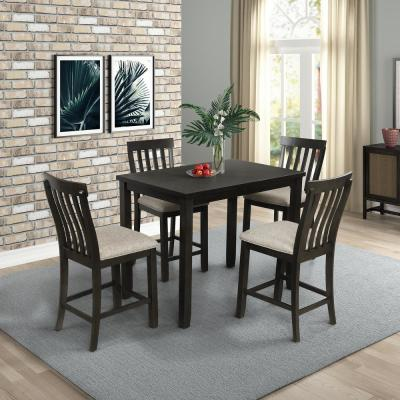 Gray 5-Piece Counter Height Dining Set with Upholstered Seat and Footrest