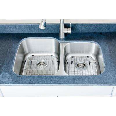 The Craftsmen Series Undermount 32 in. Stainless Steel 60/40 Double Bowl Kitchen Sink Package