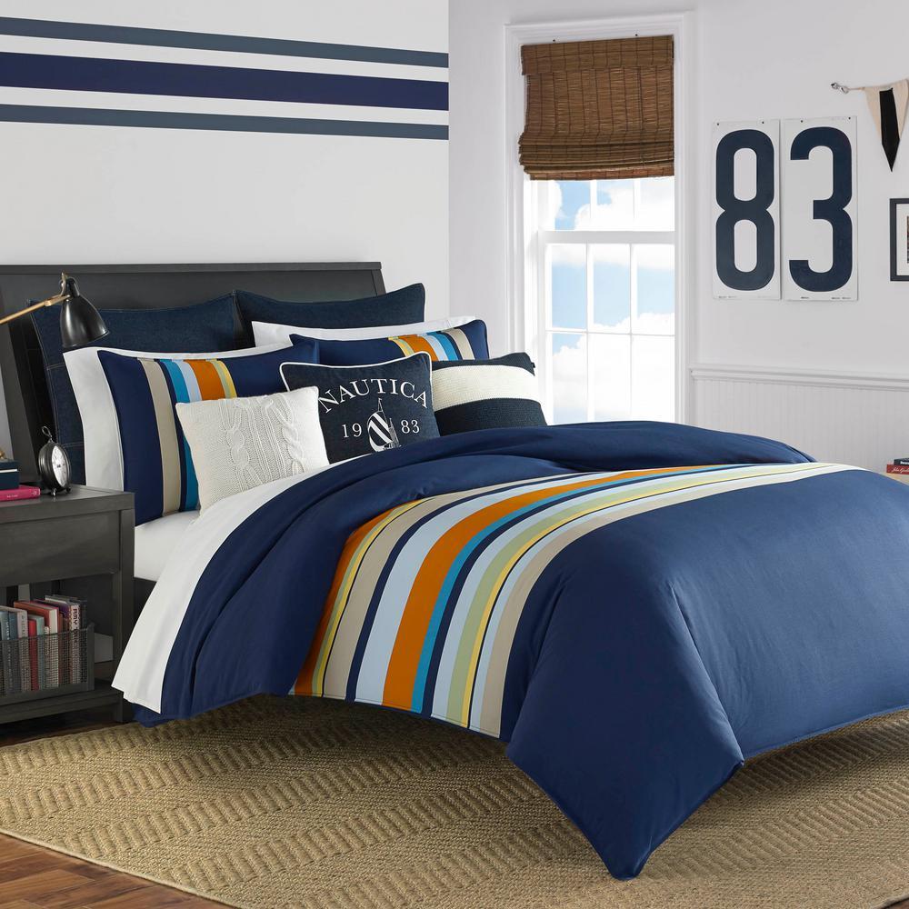 Heritage Sailing Stripe Cotton 3-Piece Full/Queen Comforter Set