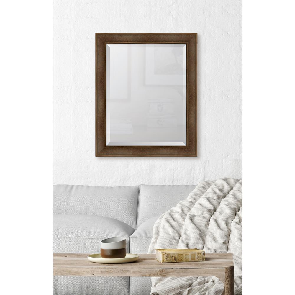 28 in. x 34 in. Framed Warm Walnut Mirror