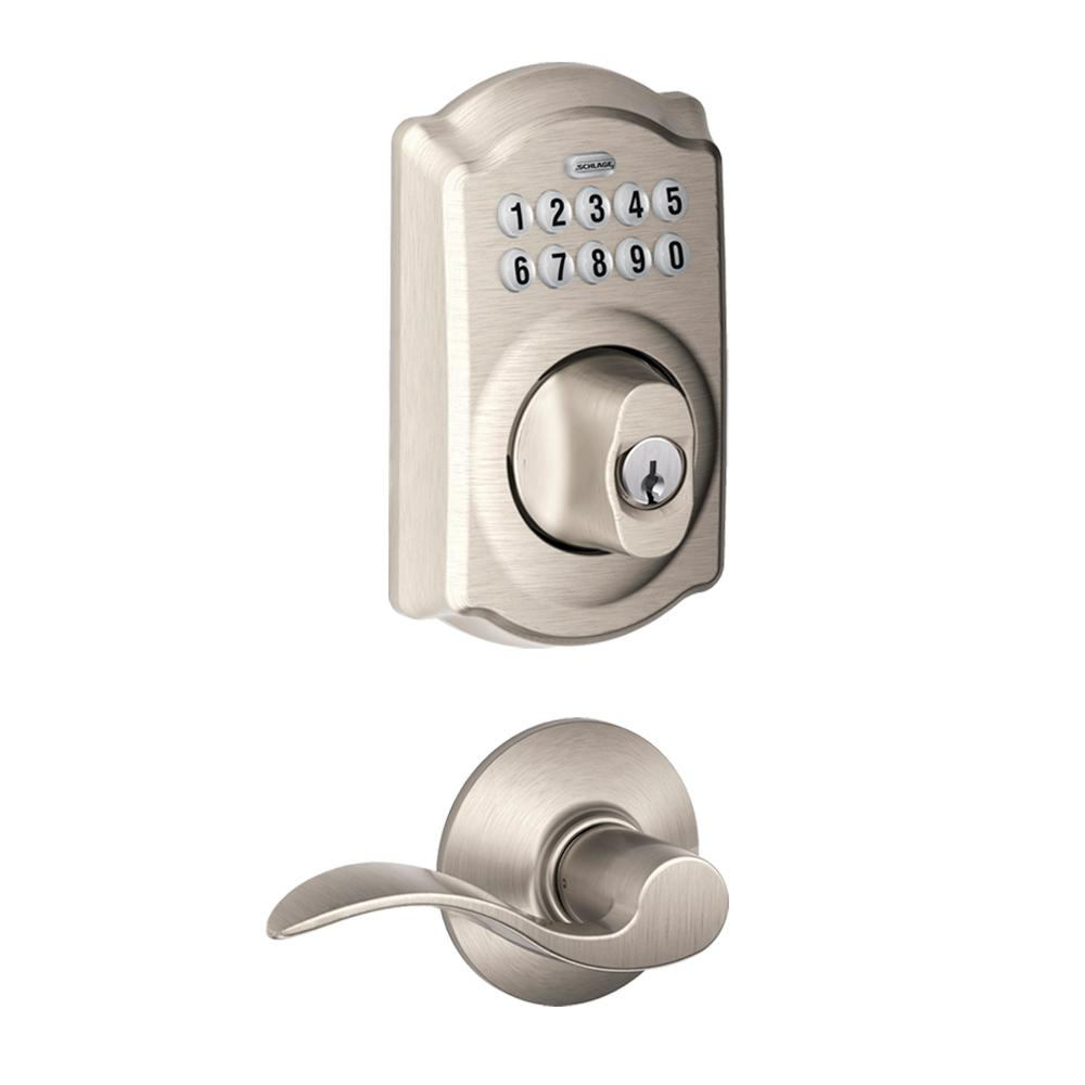 Schlage Camelot Satin Nickel Keypad Electronic Door Lock Deadbolt and Accent Lever