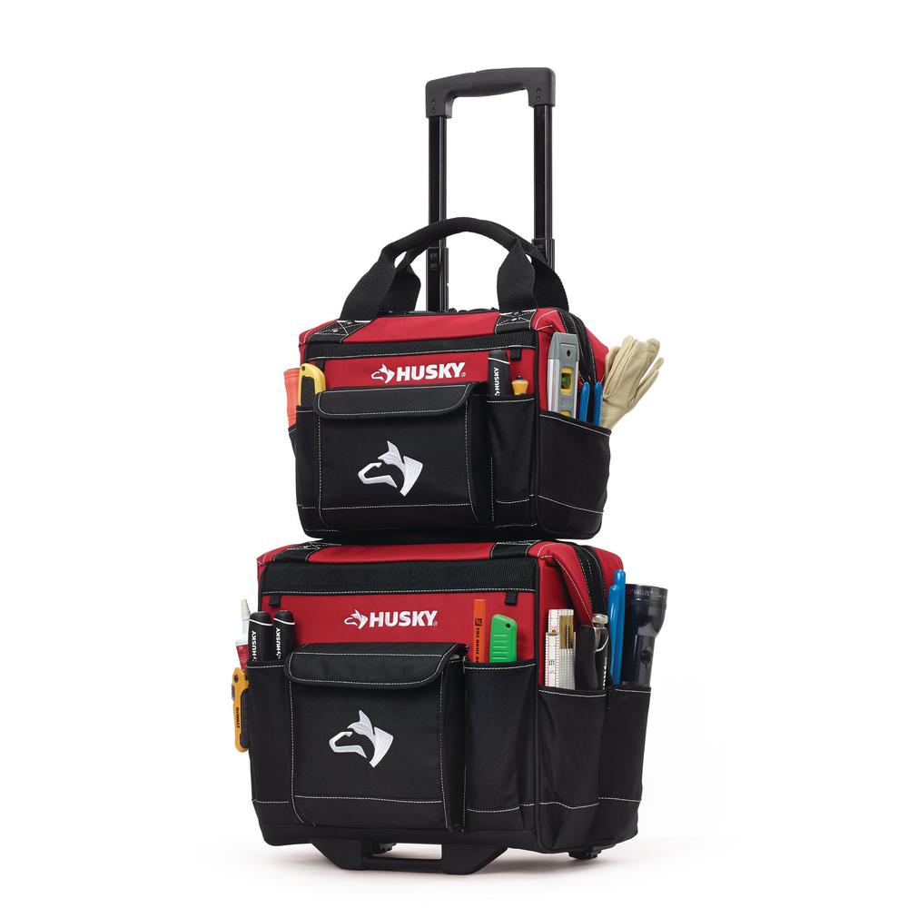 Husky 14 in. Rolling Tool Tote with Bonus 12 in. Bag-14Combo12 - The ... 9d990a9e75e75