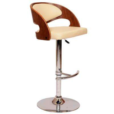 Malibu 46 in. Cream Faux Leather and Chrome Finish Swivel Barstool