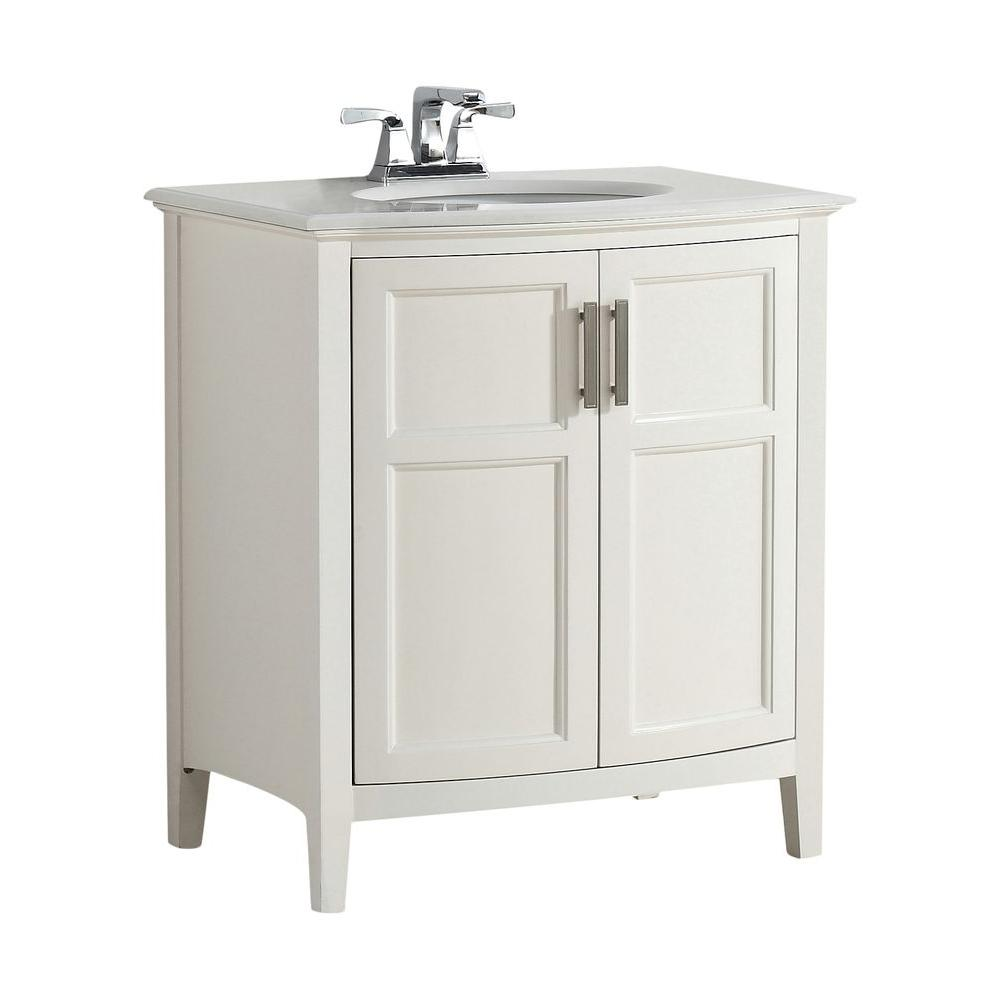 Simpli Home Winston Rounded Front 30 In Bath Vanity Soft White With Quartz Marble Top Ay Basin