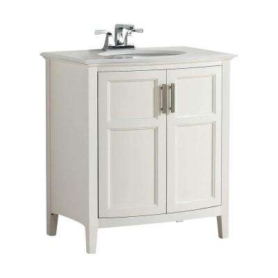 Winston Rounded Front 30 in. W Vanity in Soft White with Quartz Marble Vanity Top in White with White Basin