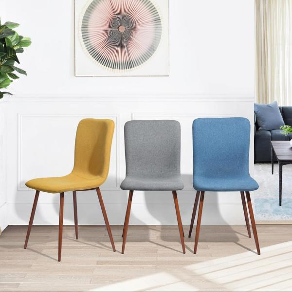 Furniturer Scargill Yellow Fabric Dining Chair Set Of 4 Scargill Yellow The Home Depot