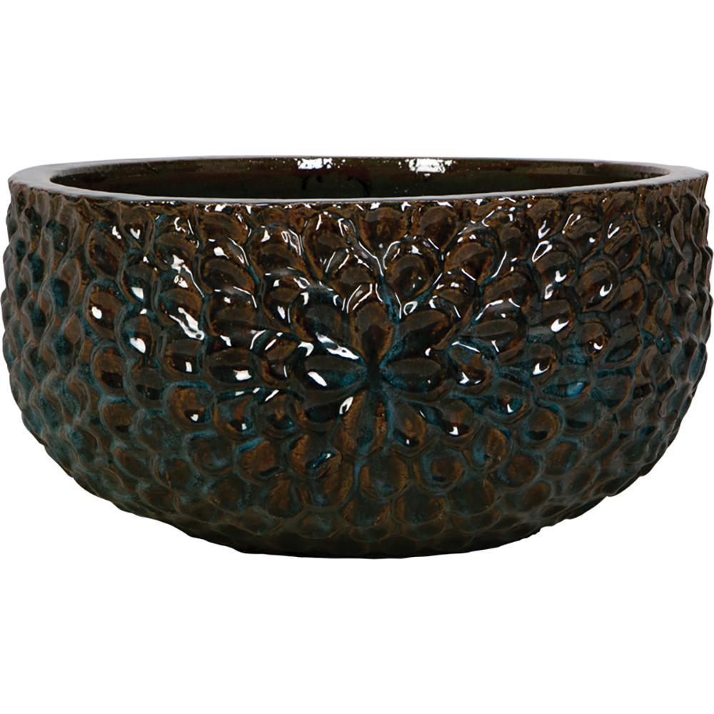 15 in. Mystic Blue Ceramic Summer Bowl