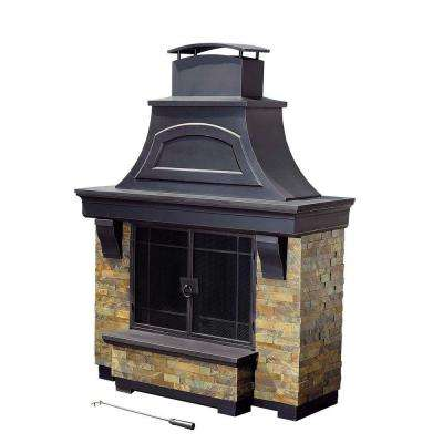Jasper 72 in. Steel and Faux Stack Stone Outdoor Fire Place
