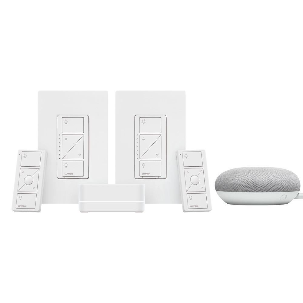 Lutron Caseta Wireless Smart Lighting Dimmer Switch (2 Count) Starter Kit w/ Google Mini Chalk