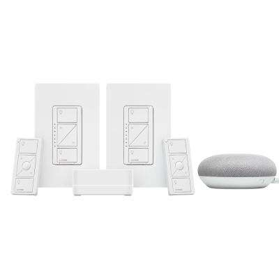Caseta Wireless Smart Lighting Dimmer Switch (2 Count) Starter Kit w/ Google Mini Chalk