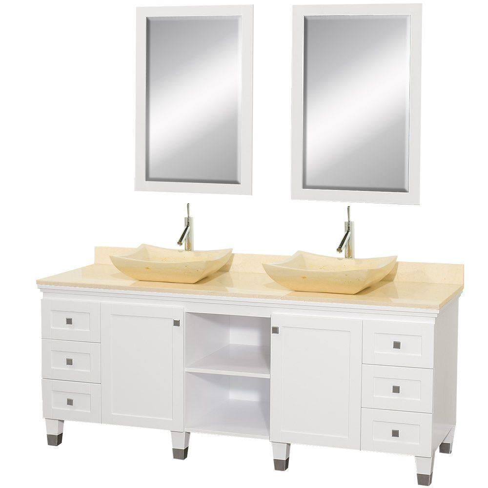 Wyndham Collection Premiere 72 in. Vanity in White with Marble Vanity Top in Ivory with Ivory Sinks and Mirrors