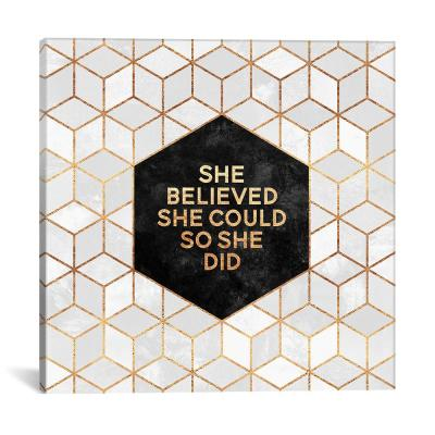 """She Believed She Could So She Did"" by Elisabeth Fredriksson Canvas Wall Art"