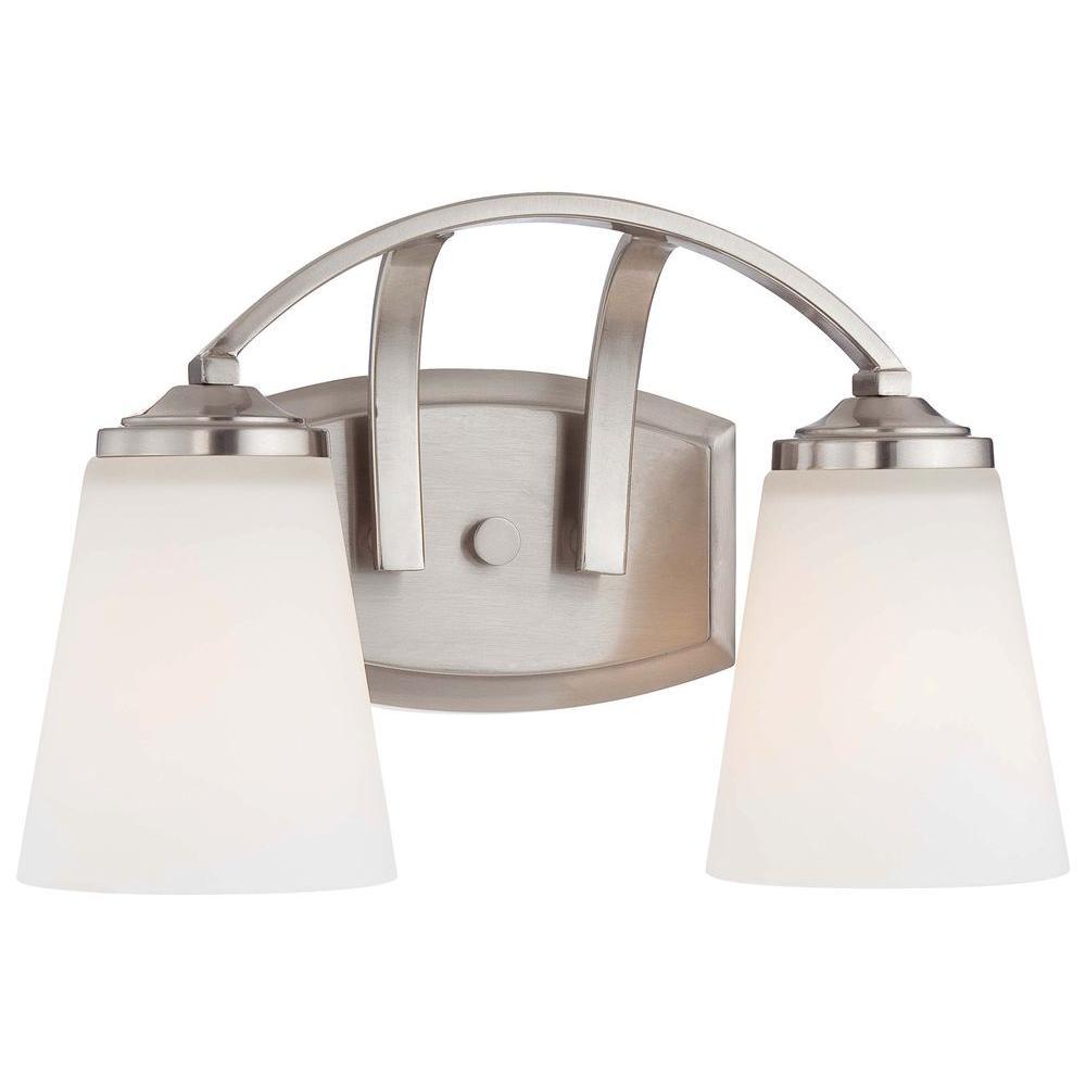 Overland Park 2-Light Brushed Nickel Bath Light