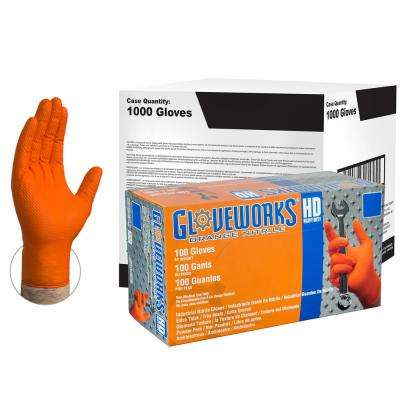 Large Diamond Texture Orange Nitrile Industrial Powder-Free Disposable Gloves (10-Pack of 100-Count)