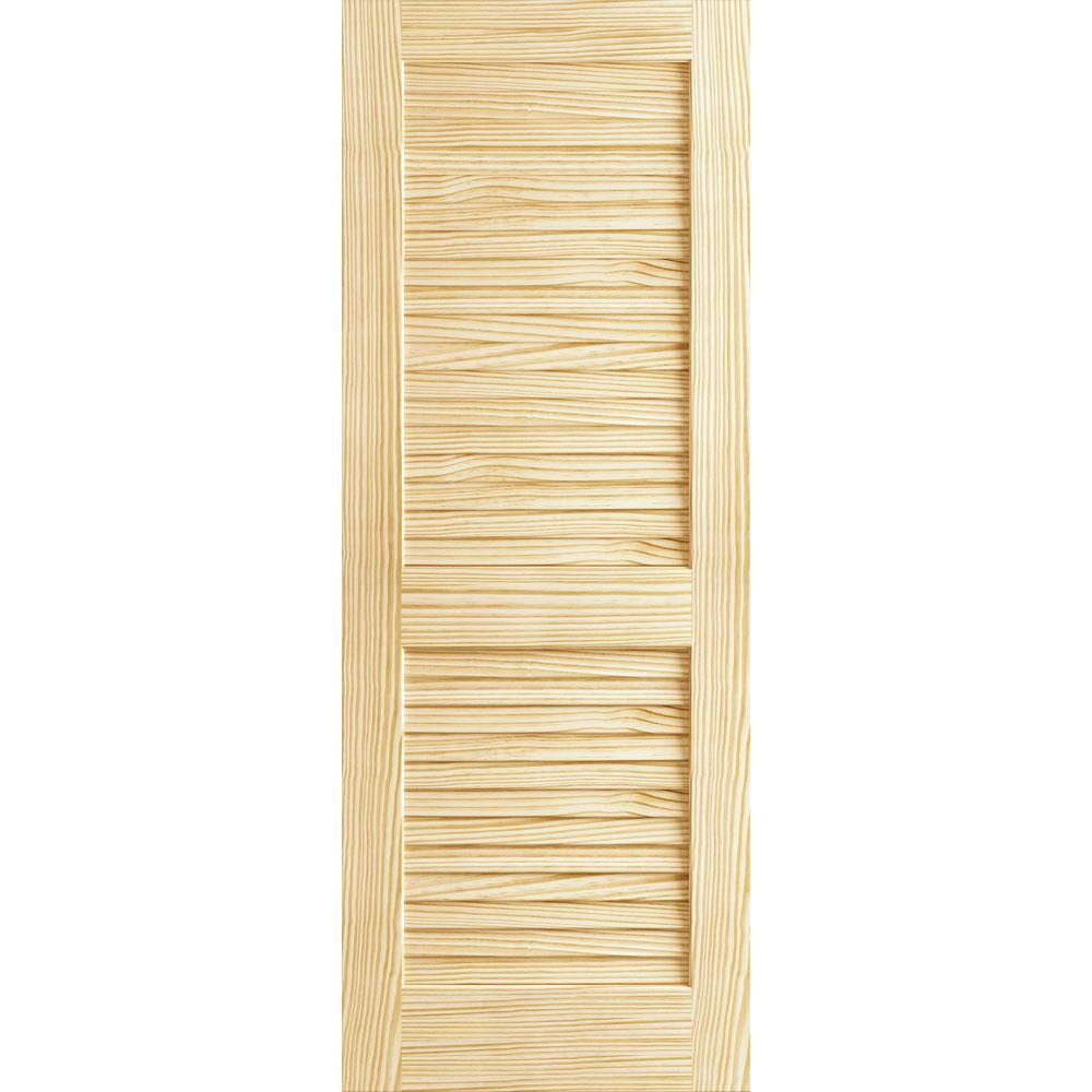 Kimberly Bay 24 In. X 80 In. Unfinished Plantation Louver Louver Solid Core Wood Interior Door