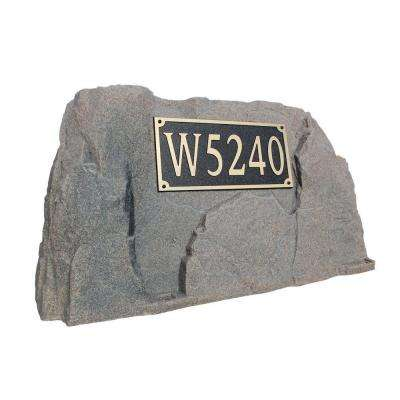 39 in. L x 21 in. W x 21 in. H Plastic Rock Cover with Square Sign in Brown/Black