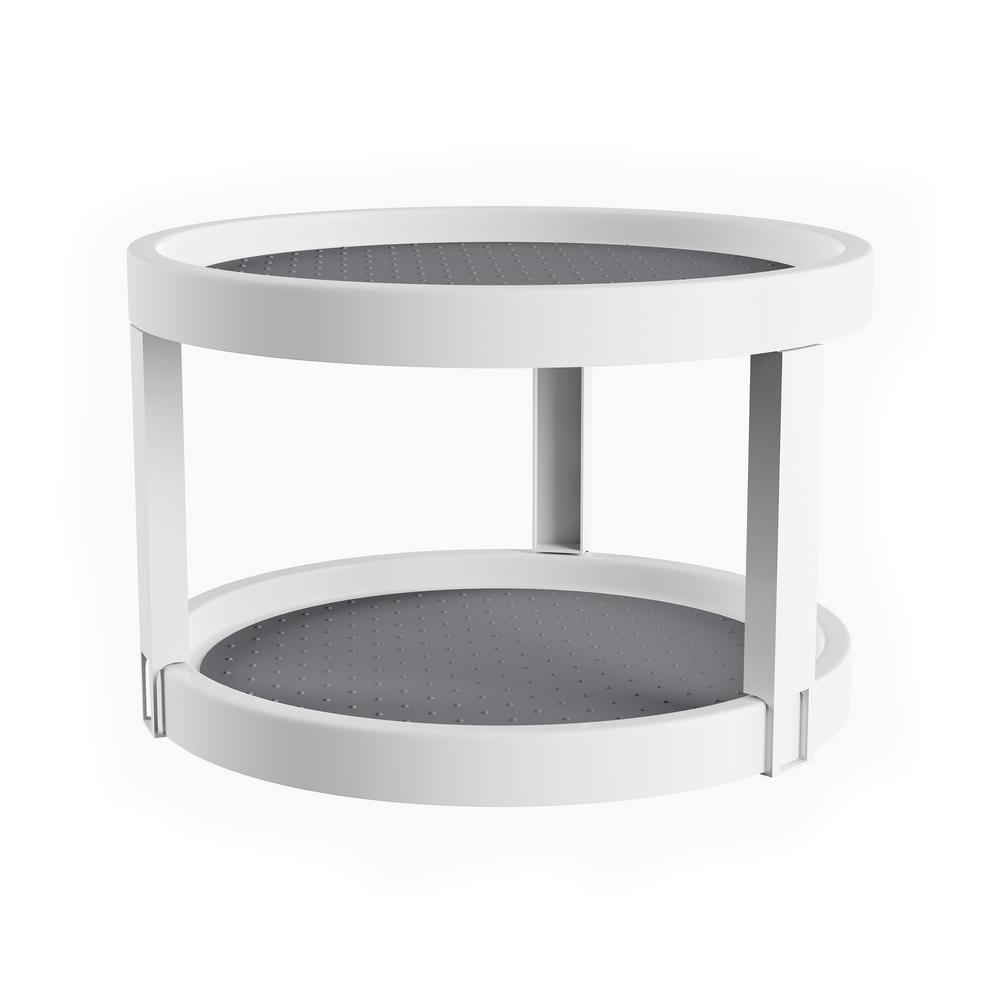 Lavish Home 9.75 in. 2-Tier Lazy Susan in White