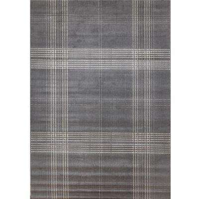Broadway Plaid Grey 5 ft. 3 in. x 7 ft. 6 in. Area Rug