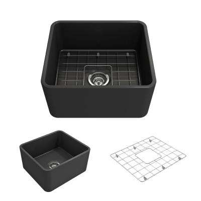 Classico Farmhouse Apron Front Fireclay 20 in. Single Bowl Kitchen Sink with Bottom Grid and Strainer in Matte Dark Gray