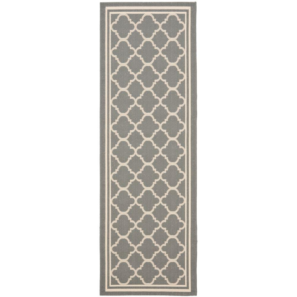 Safavieh Courtyard Anthracite/Beige 2 ft. x 12 ft. Indoor/Outdoor ...