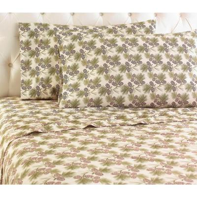 Micro Flannel 4-Piece Pinecone Botanical California King Sheet Set
