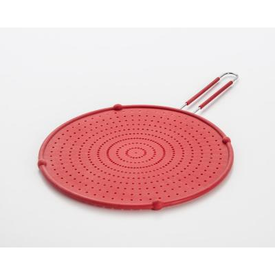 13 in. Red Silicone Splatter Screen with Non-Slip Grip