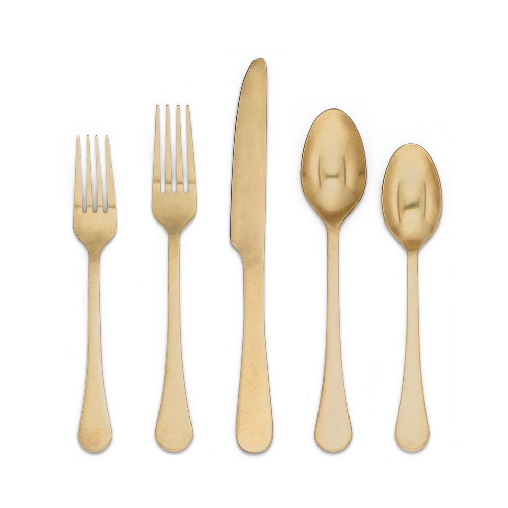 Katni Rumbled Brass 18/8 20-Piece Flatware Set
