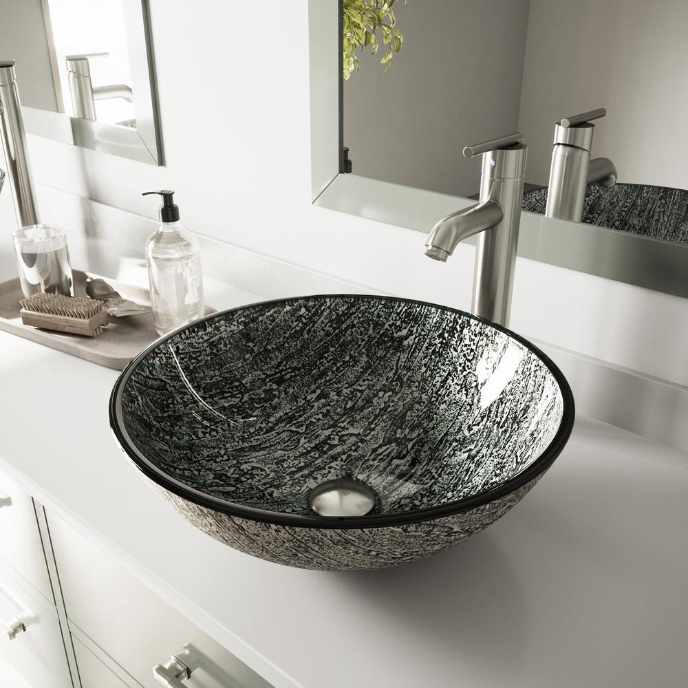 VIGO Glass Vessel Sink in Titanium and Seville Faucet Set in Brushed ...