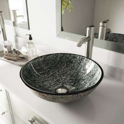Glass Vessel Sink in Titanium and Seville Faucet Set in Brushed Nickel