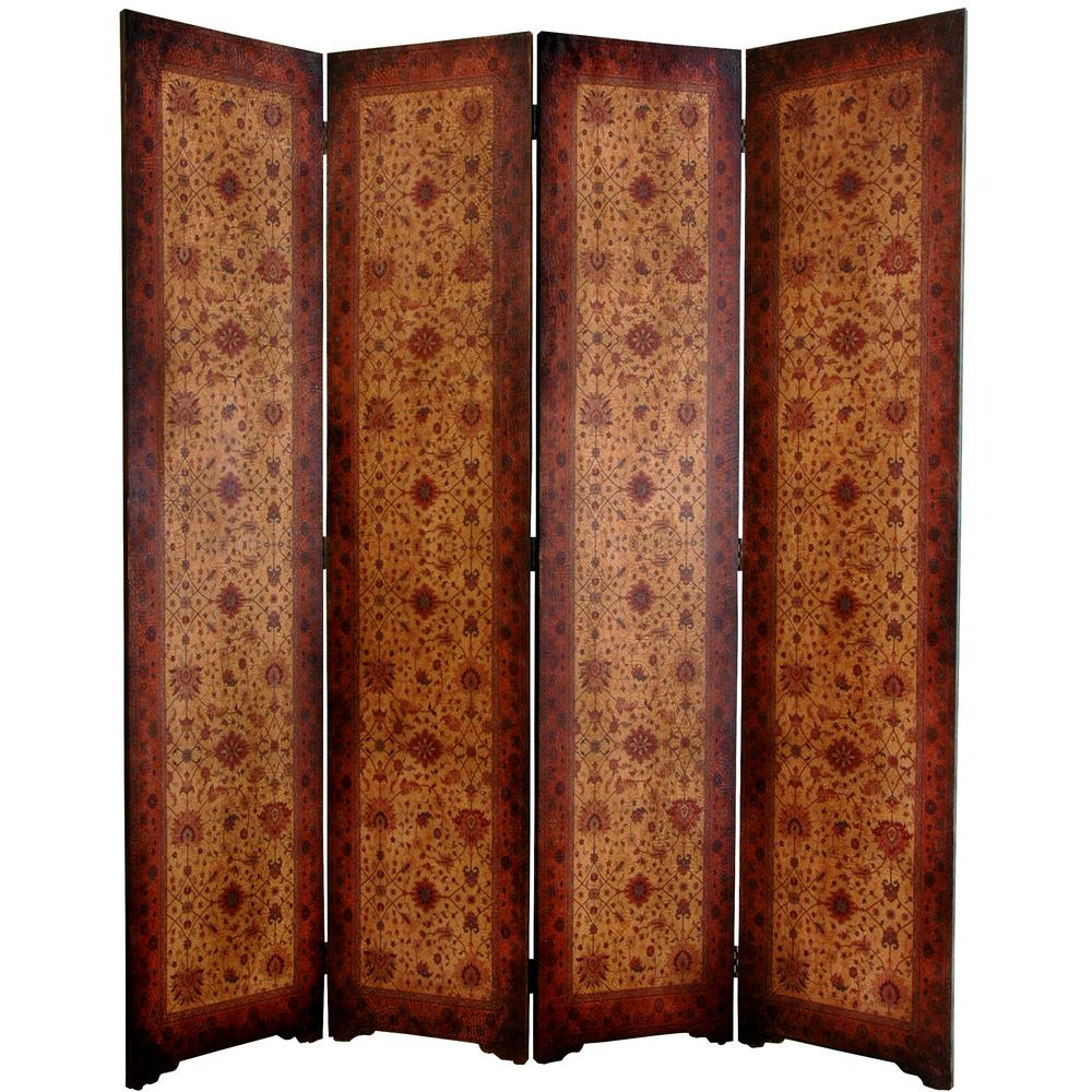 6 ft Brown 4 Panel Victorian Room Divider LT SCRN2 The Home Depot