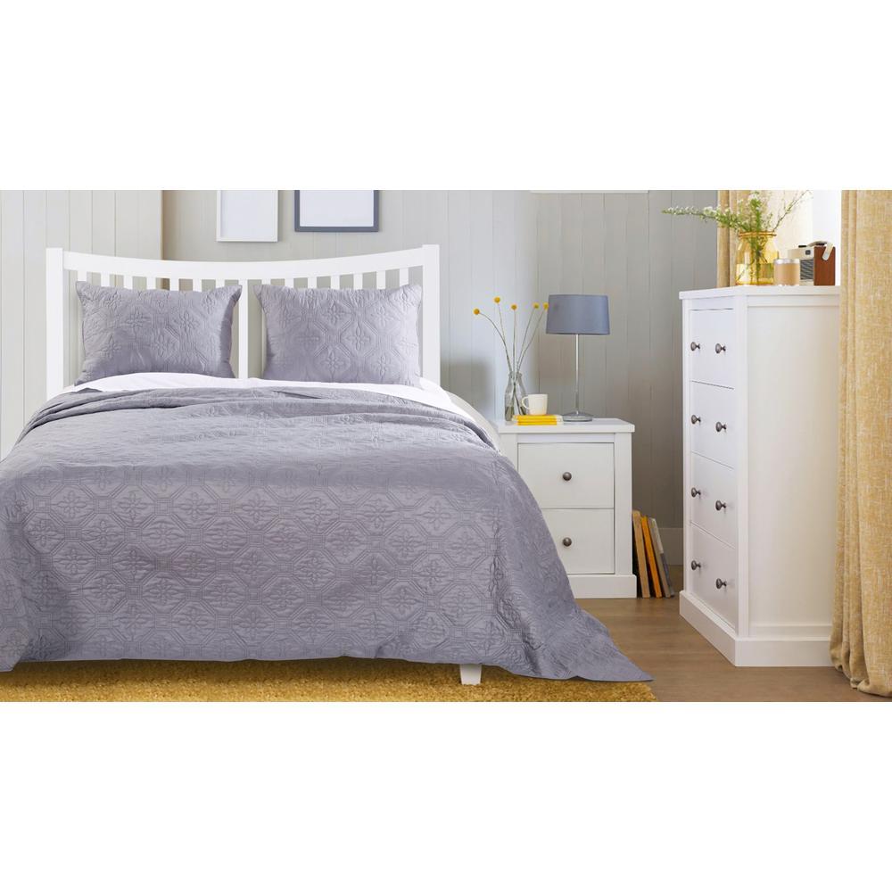 Central Park 3-Piece Stone Gray Queen Bedspread Set