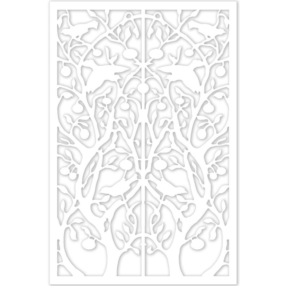 Acurio Latticeworks Tree of Life 32 in. x 4 ft. White Vinyl Decorative Screen Panel