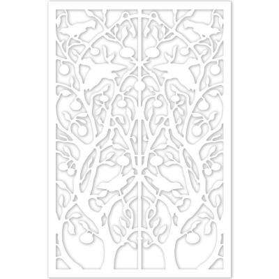 1/4 in. x 32 in. x 4 ft. White Vinyl Tree of Life Decor Panel