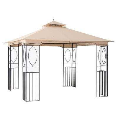 Rockville 10 ft. x 10 ft. Beige Steel Soft Top Gazebo