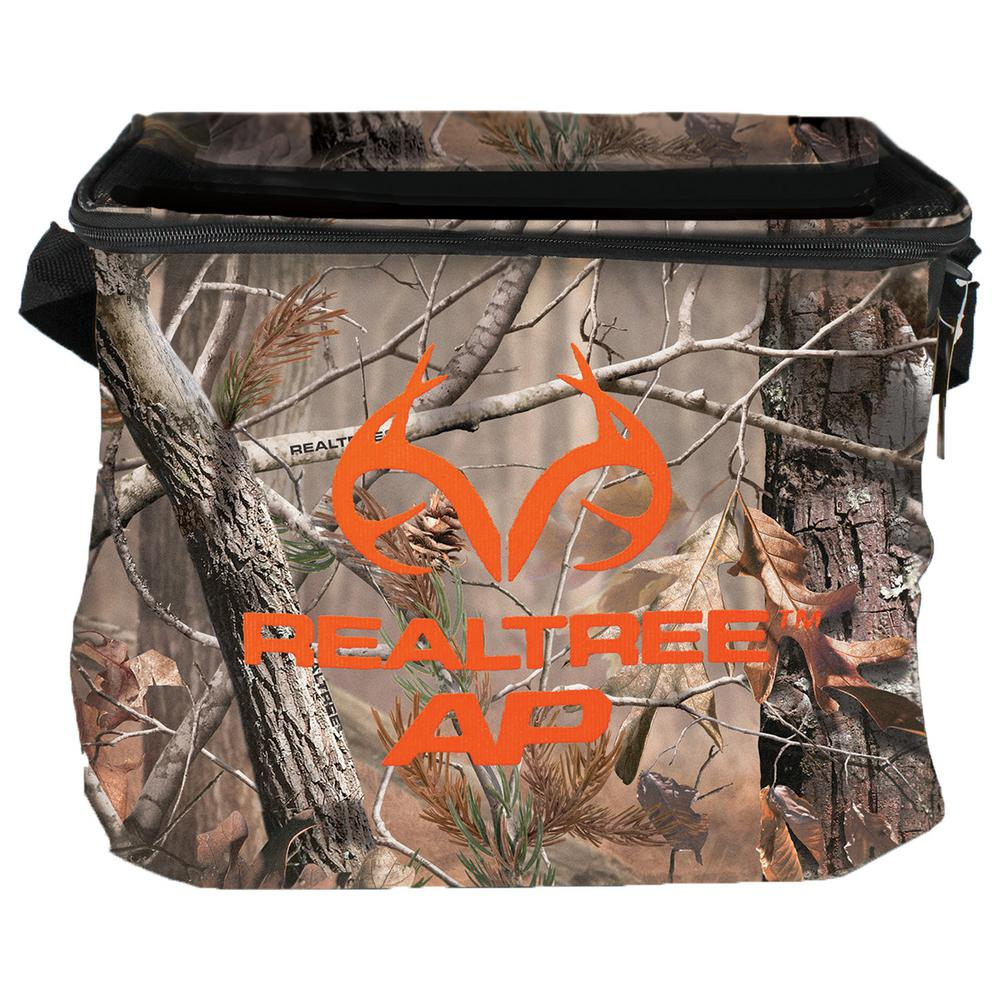 AES Optics Soft Side Cooler Realtree AP (24-Can) Soft-sided cooler with Logo on the front. Holds 24 cans. Cooler has zip around top and a shoulder strap for easy carry.