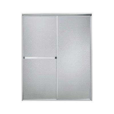 Standard 56 in. x 65 in. Framed Sliding Shower Door in Silver with Handle