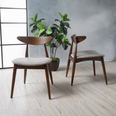 Barron Light Grey and Walnut Upholstered Dining Chairs (Set of 2)