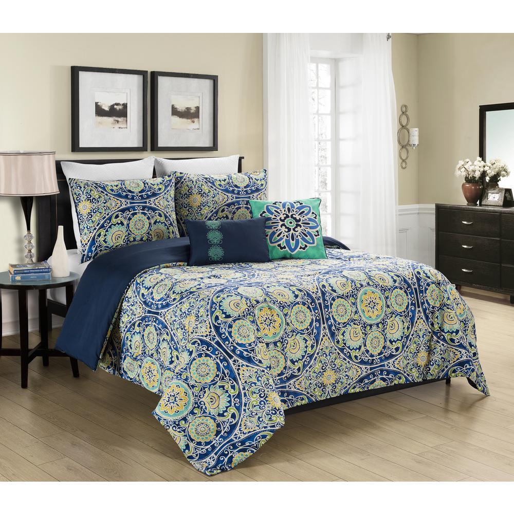 Malia 5-Piece King Reversible Comforter Set