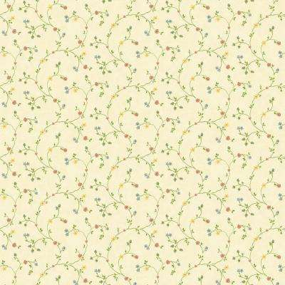 Kitchen and Bath Resource II Cream Floral Trail Wallpaper Sample