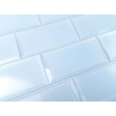 Frosted Elegance Catherine Blue Matte 3 in. x 6 in. Glass Peel and Stick Wall Tile (8-piece / pack)