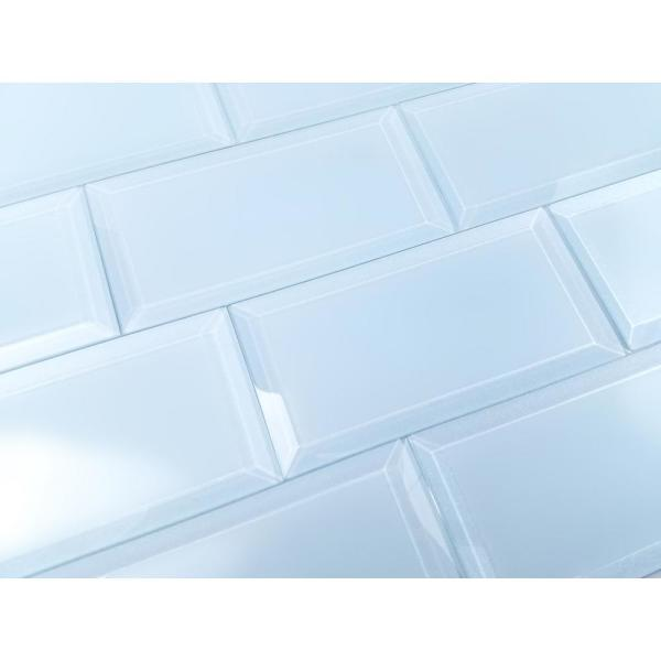 Frosted Elegance Blue Subway 3 in. x 6 in. Matte Glass Subway Tile (1 sq. ft.)
